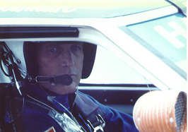 Paul Newman in his Datsun race car