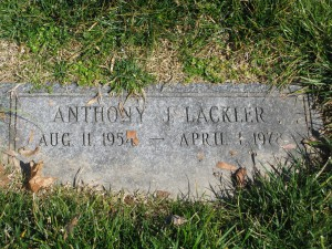 Tony Lackler gravestone - April 1, 1978